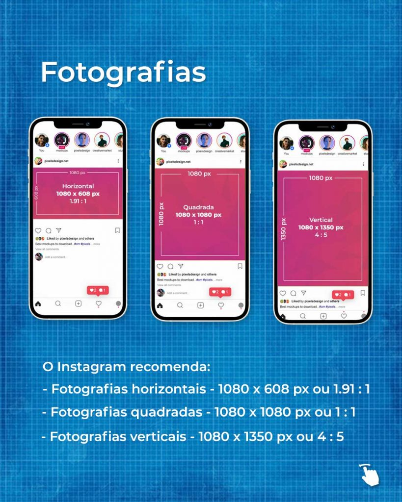 tamanhos de fotografias no instagram